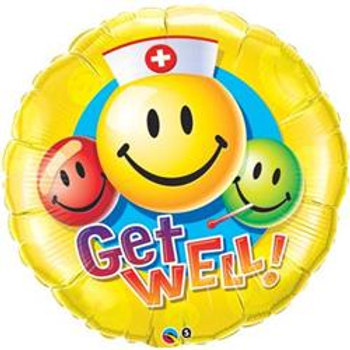 Qualatex Balloons Get Well Smiley Face 45cm