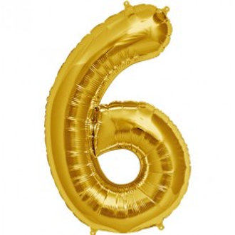 Megaloon Number 6 Jumbo 34″(GOLD,SLIVER,BLUE,HOTPINK,ROSEGOLD)