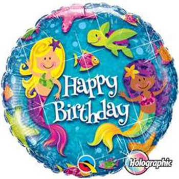 Qualatex Balloons Birthday Mermaids Holographic 45cm