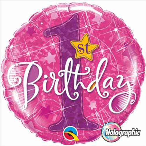 Qualatex Balloons 1st Birthday Stars Pink Holographic 45cm