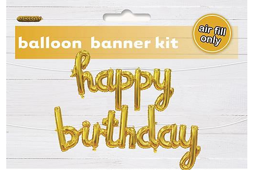 Gold Foil 'Happy Birthday' banner (Air inflated)