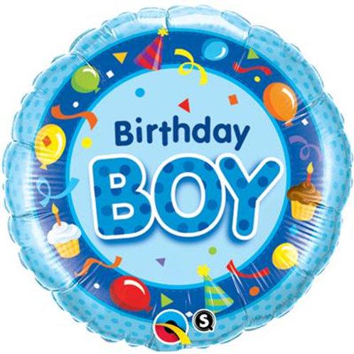 Qualatex Balloons Birthday Boy Blue 45cm