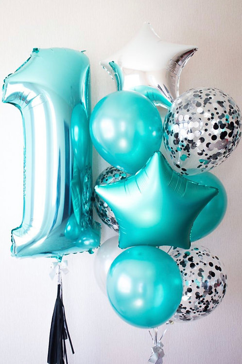 First Birthday Teal Color Set balloon bouquet