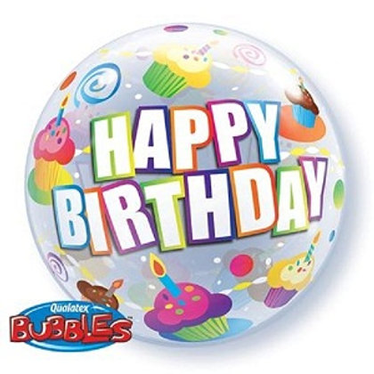 Balloon Bubble 55cm Birthday Colourful Cupcakes