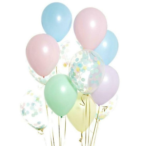 Beautiful Pastel Matte Confetti Balloon Bouquet OF 12