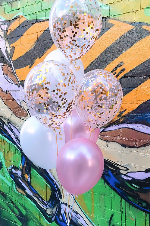 Bouquet of 7 Pink & Gold Confetti Set (helium filled)