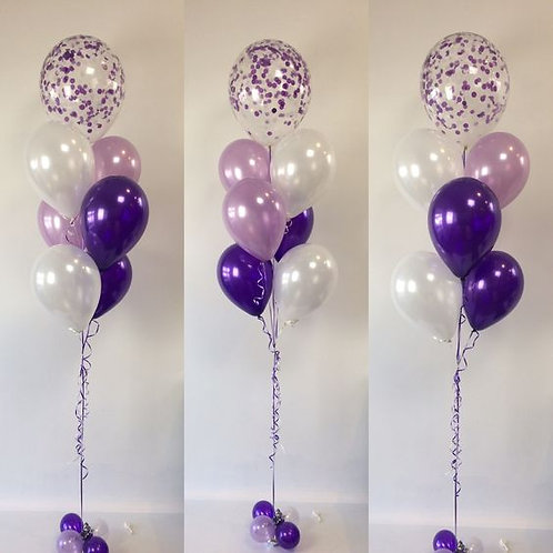 Bouqute Of 7 with one Confetti Balloon Helium Filled