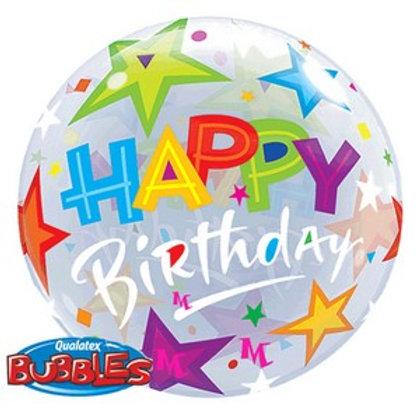 Balloon Bubble 55cm Birthday Brilliant Stars