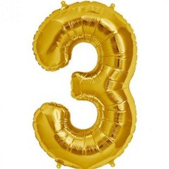 Megaloon Number 3 Jumbo 34'' (GOLD,SLIVER,BLUE,HOTPINK,ROSEGOLD)