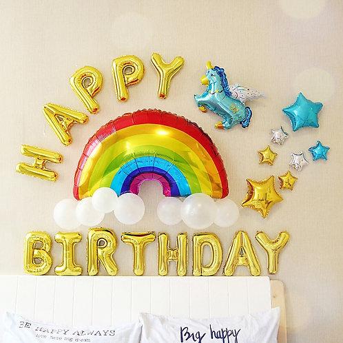 Rainbow Birthday Foil Decoration Package