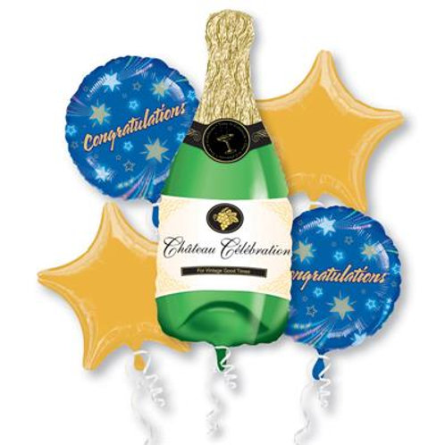 Champagne Bottle Congratulations Bouquet-(Helium Filled)