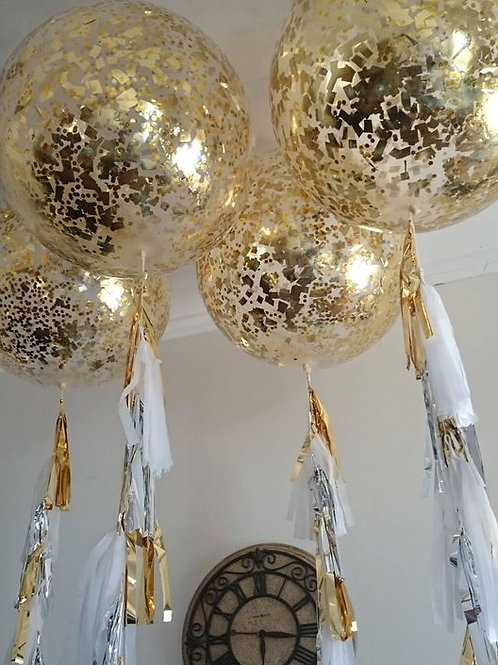 Gold Foil 90cm Confetti Balloon (helium filled)