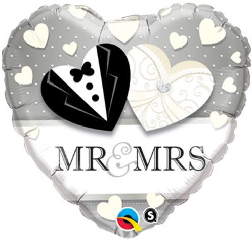 Qualatex Balloons Heart Foil Mr and Mrs Wedding 45cm