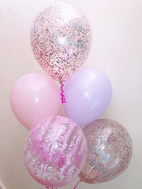 Birthday Purple Marble Confetti Bouquet of 5