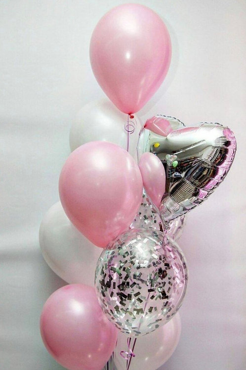 Bouquet of 9  Pink and Sliver Heart