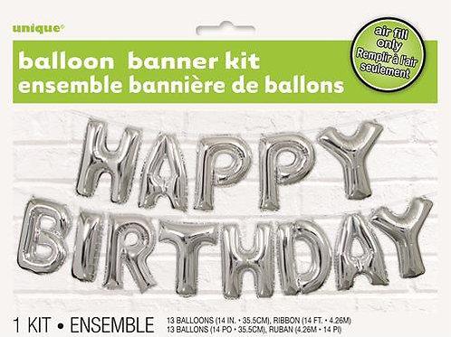 """HAPPY BIRTHDAY"" SILVER 35.5cm (14"") FOIL LETTER BALLOON KIT"