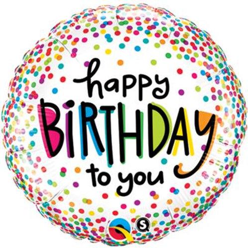 Qualatex Balloons Birthday Sprinkled Dots 45cm
