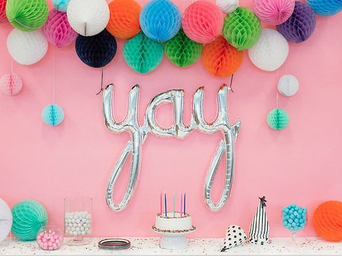 Silver YAY Air Filled Foil Balloon Banner 102cm