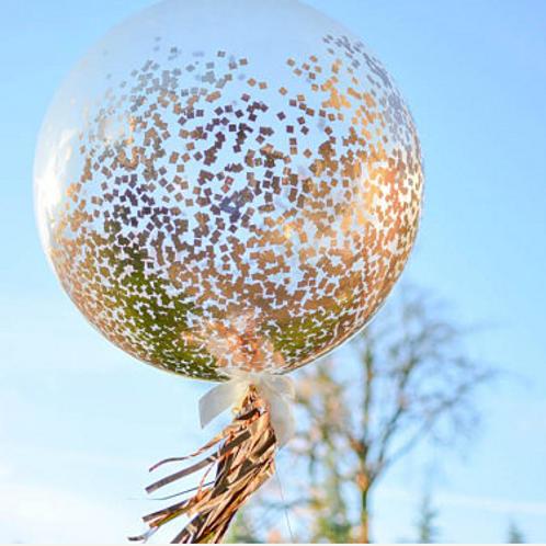 Rose Gold Balloon Confetti Balloon 90cm (helium filled)