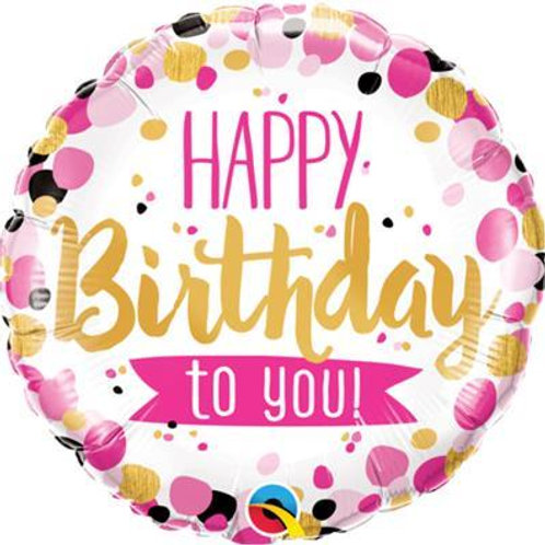 Qualatex Balloons Birthday To You Pink and Gold 45cm