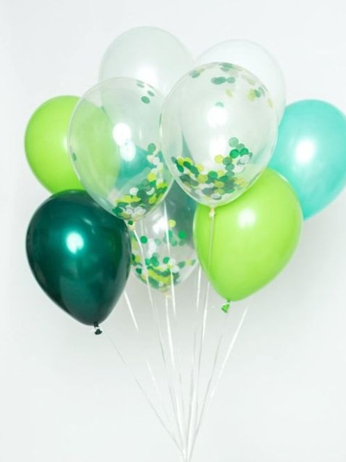 In The Jungle - Shades of Green Confetti Balloon Bouquet of 11