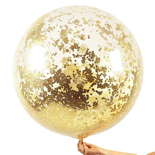 Jumbo Confetti Balloon Metallic Golds-mini gold