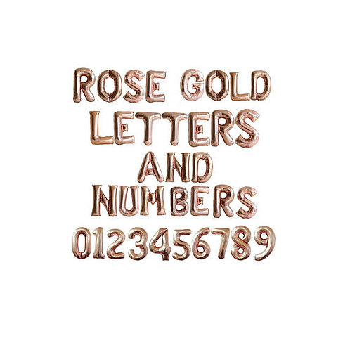 Rose Gold Foil Number/Letter($5.99 per balloon) 35.5cm inflated