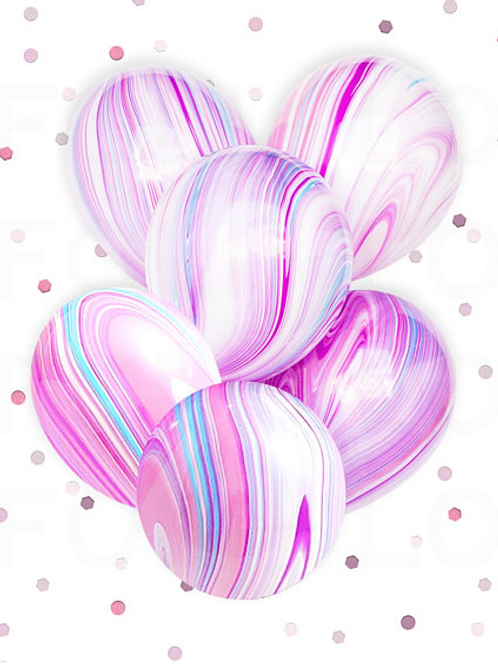 Bouquet of 5 MARBLE BALLOONS | Unicorn Theme Balloons (helium filled)
