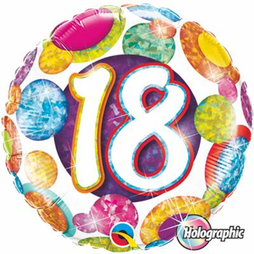 Qualatex Balloons18- 60 Big Dots and Glitz Holographic 45cm