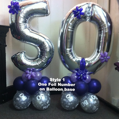 Large Foil Number Balloons on a Base(Set of 2 )(Air Filled)