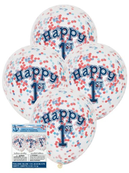 NAUTICAL 1ST BIRTHDAY CLEAR BALLOONS WITH BLUE & RED CONFETTI