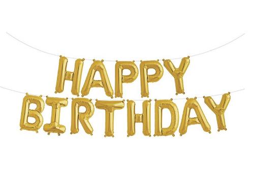 Gold 'HAPPY BIRTHDAY' Balloon Banner, 40cm high
