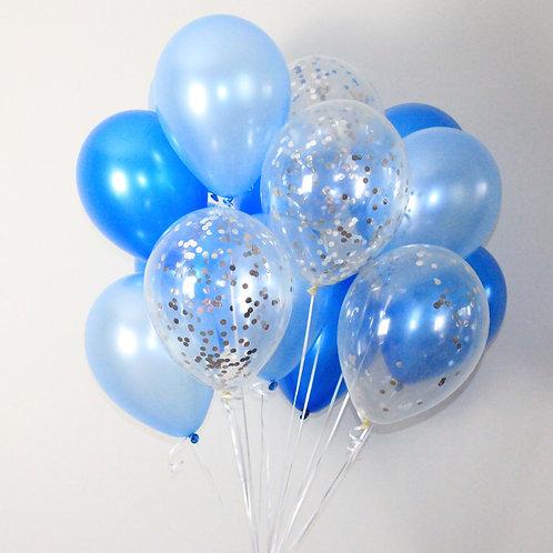 Bouquet(20Balloons)Blue Confetti Balloon Helium filled