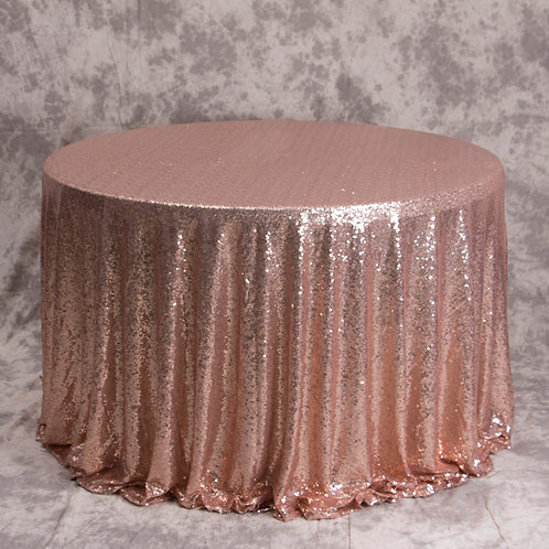 Rose Gold Sequins tablecloths Hire