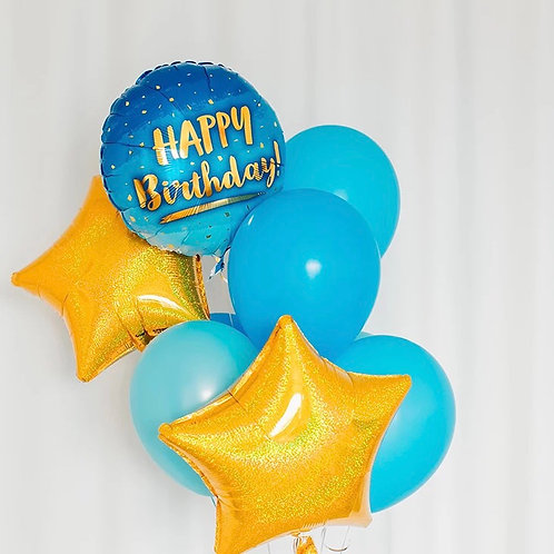 Gold blue birthday balloon bouquet of 8