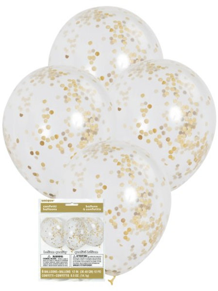 """CLEAR BALLOONS  WITH GOLD CONFETTI 6 X 30cm (12"""")"""