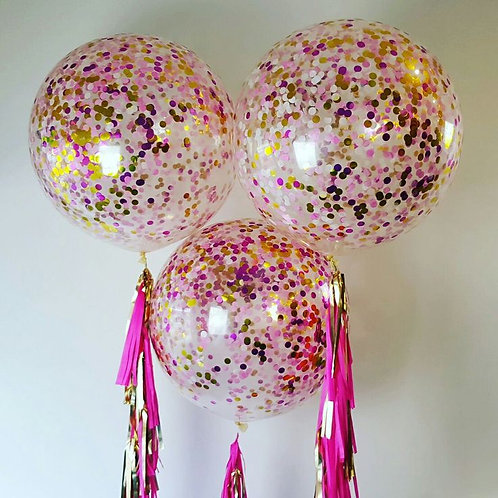Giant 90cm 3ft Confetti Balloon - hot pink shimmer