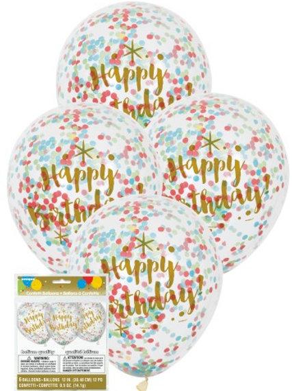 GLITZY GOLD BIRTHDAY CLEAR BALLOONS WITH MULTI-COLOURED CONFETTI