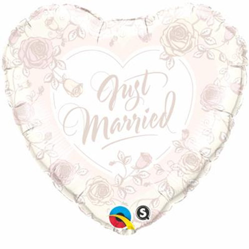Qualatex Balloons Just Married Roses 45cm