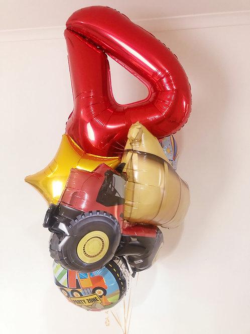 Happy 4th truck theme birthday foil balloon (Bqt of 7)
