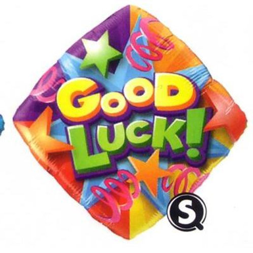 Qualatrx Balloons Good Luck Stars & Streamers 45cm # Diamond Shaped
