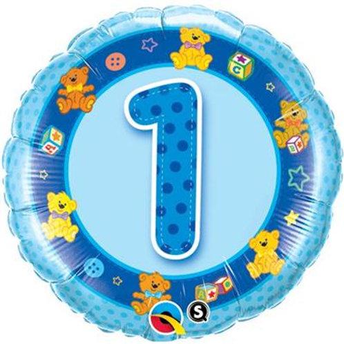 Qualatex Balloons Age 1 Pink/Blue Teddies 45cm