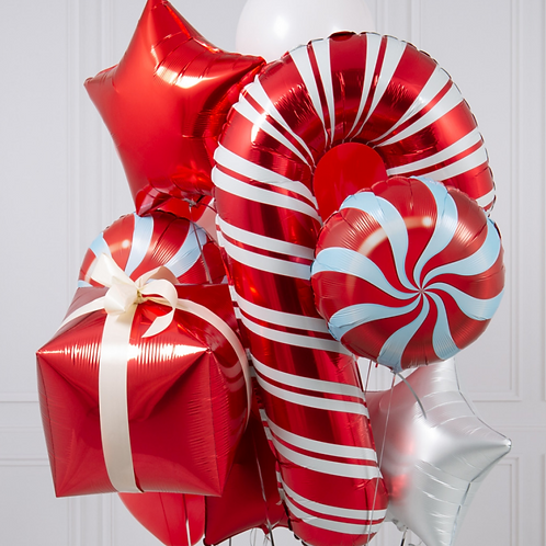 Christmas Candy Cane Crazy Balloon Bunch