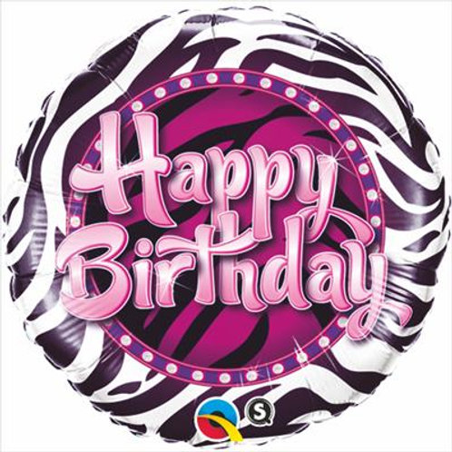 Qualatex Balloons Birthday Zebra Print 45cm