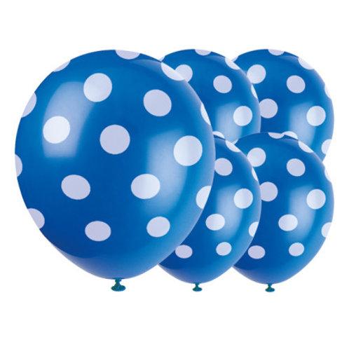 Royal Blue Decorative Dots Latex Balloons