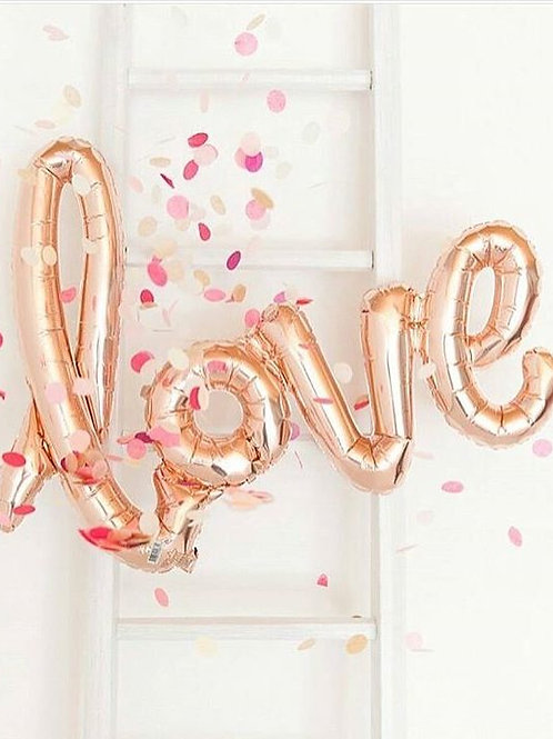 Rose Gold LOVE Air Filled Foil Balloon Banner 102cm