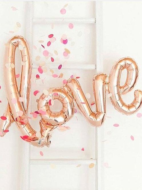 Rose Gold LOVE Air Filled Foil Balloon Banner 102cm