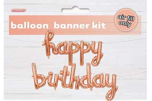 Rose Gold Foil 'Happy Birthday' banner (Air inflated)
