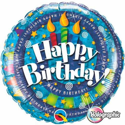 Qualatex Balloons Birthday Spiral & Candles Holographic 45cm