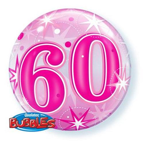 60 Blue/Pink Starburst Sparkle Bubble 55cm